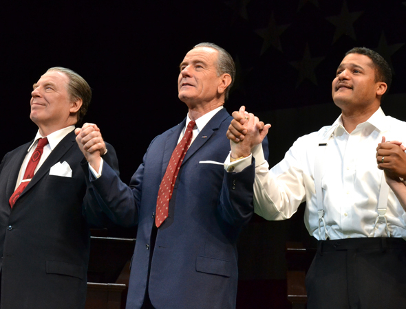 <p>Michael McKean, Bryan Cranston, and Brandon J. Dirden take their curtain calls.</p><br />(© David Gordon)
