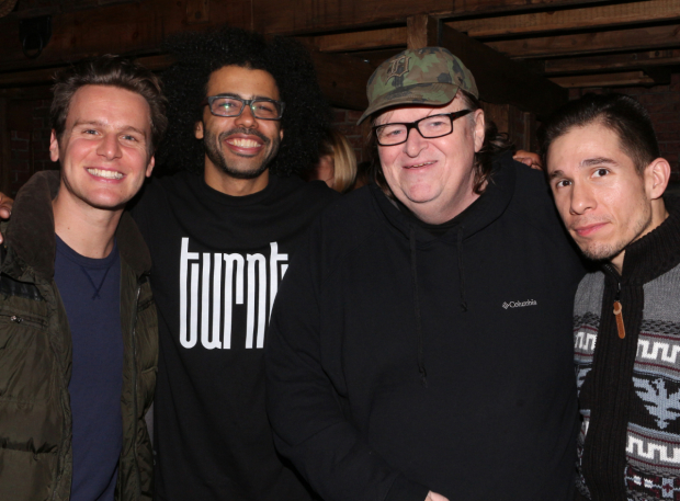 <p>Michael Moore (second from right) catches up with Jonathan Groff, Daveed Diggs, and Jon Rua.</p><br />(© David Gordon)