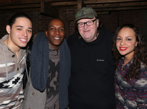 <p>Michael Moore (second from right) meets Anthony Ramos, Leslie Odom Jr., and Jasmine Cephas Jones.</p><br />(© David Gordon)