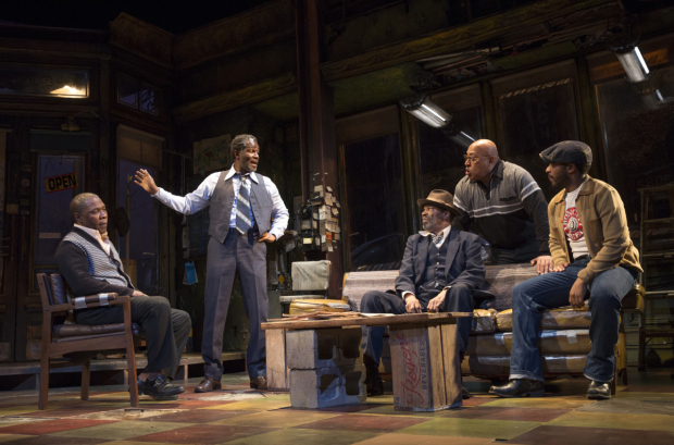<p>Michael Potts, John Douglas Thompson, Anthony Chisholm, Keith Randolph Smith, and André Holland confer onstage in Manhattan Theatre Club&#39&#x3B;s production of <em>Jitney</em>.</p><br />(© Joan Marcus)