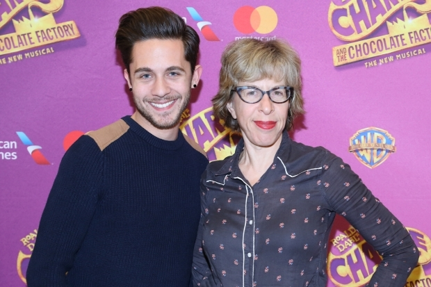 <p>Michael Wartella, last seen on Broadway in <em>Tuck Everlasting</em>, smiles alongside <em>Hairspray</em> veteran Jackie Hoffman as the Teavee family.</p><br />(© Tricia Baron)