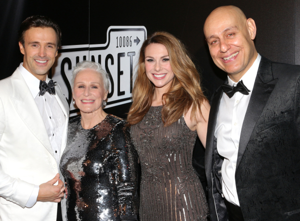 <p>Michael Xavier, Glenn Close, Siobhan Dillon, and Fred Johanson are thrilled to celebrate their opening night.</p><br />(© David Gordon)
