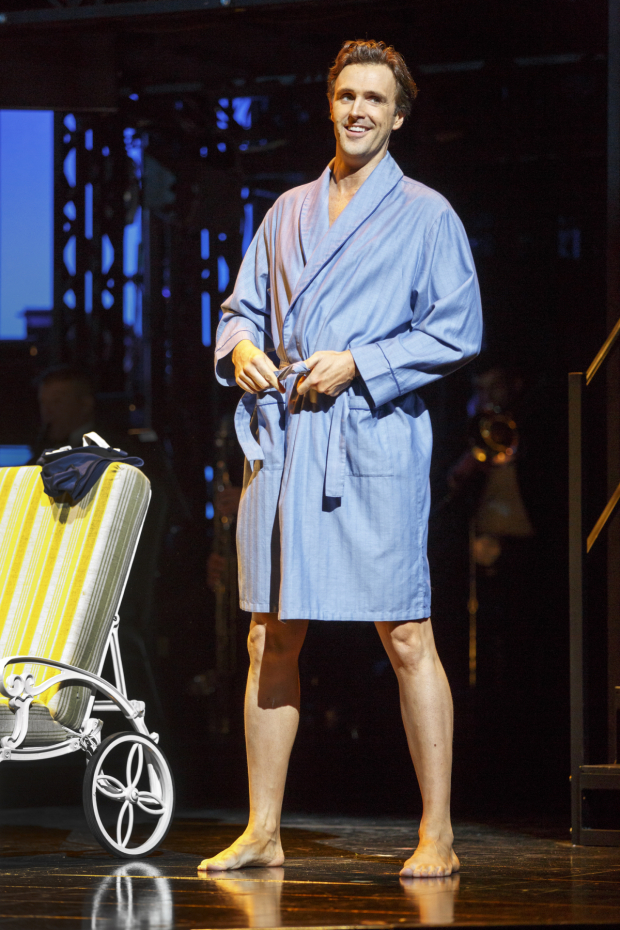 <p>Michael Xavier wears a bathrobe well in the musical from Andrew Lloyd Webber, Don Black, and Christopher Hampton.</p><br />(© Joan Marcus)