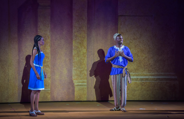 <p>Michelle Williams sings with Wonza Johnson, who plays Mereb.</p><br />(courtesy of The Muny)
