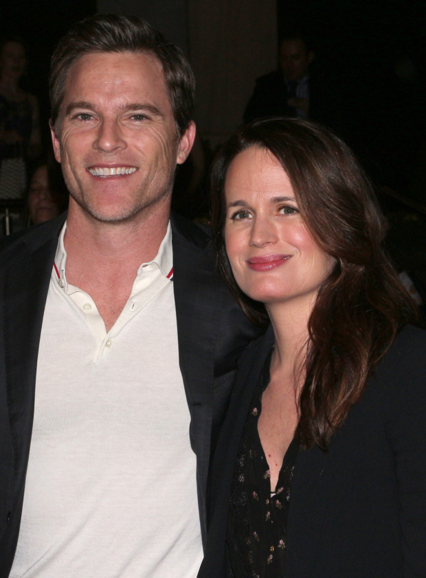 <p>Mike Doyle and Elizabeth Reaser arrive for the play.</p><br />(© David Gordon)