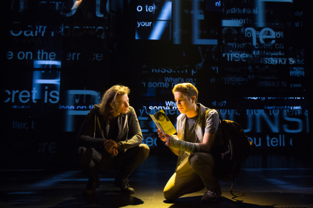 <p>Mike Faist joins Ben Platt in a moment together onstage.</p><br />(© Matthew Murphy)