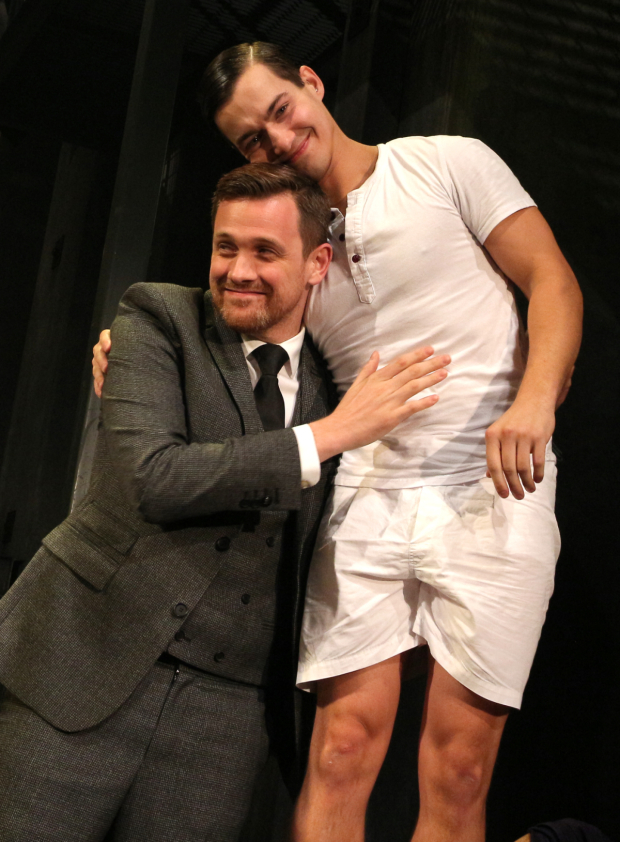 <p>Miles Barbee (Otto) gets a hug from director Michael Arden during the final bows.</p><br />(© David Gordon)