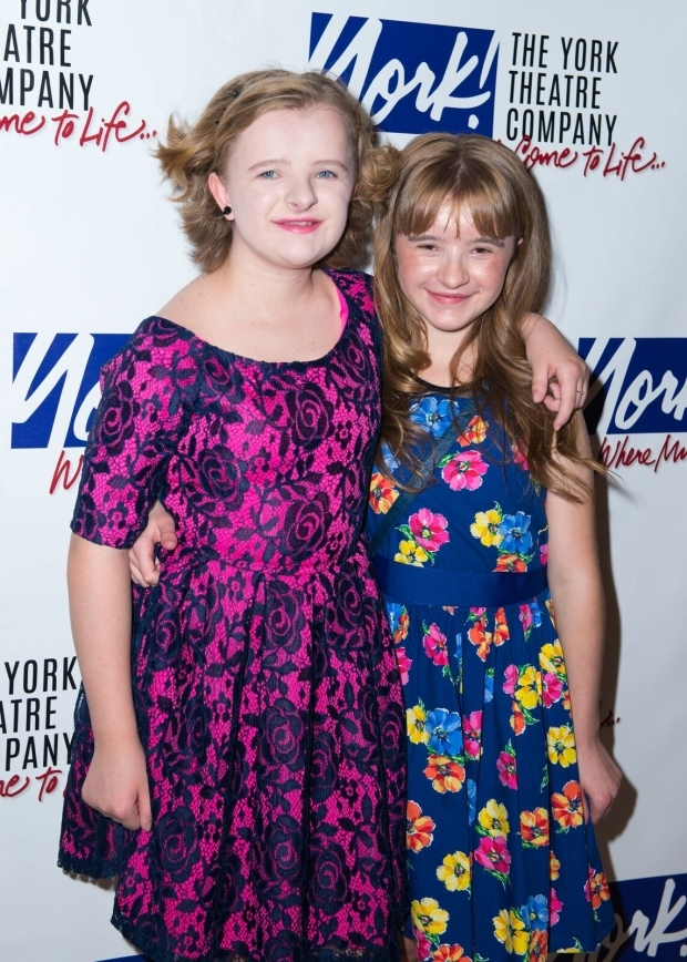 <p>Milly Shapiro poses for photos with her sister, Abigail Shapiro.</p><br />(© Allison Stock)