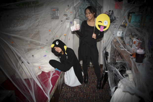 <p>Mindy Lai and LaMae Caparas filled their room with spiderwebs.</p><br />(&copy&#x3B; Jeremy Daniel)