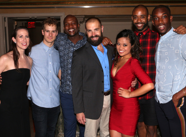 <p>Miriam Shor (left) joins cast members Ryan Steele, Clifton Oliver, Charlie Pollock, Renée Albulario, James Brown III, and Britton Smith for an ensemble shot.</p><br />(© David Gordon)