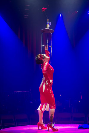 <p>Miss Behave swallows a table.</p><br />(© Seth Walters)