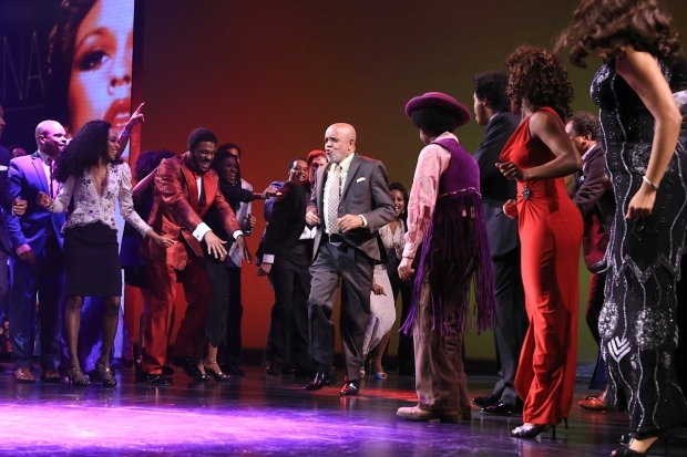 <p>Motown founder Berry Gordy dances with his Broadway company.</p><br />(© Tricia Baron)