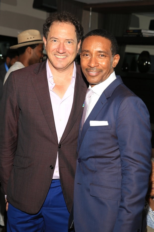 <p><em>Motown</em> producer Kevin McCollum celebrates the show&#39&#x3B;s Broadway return with director Charles Randolph-Wright.</p><br />(© Tricia Baron)