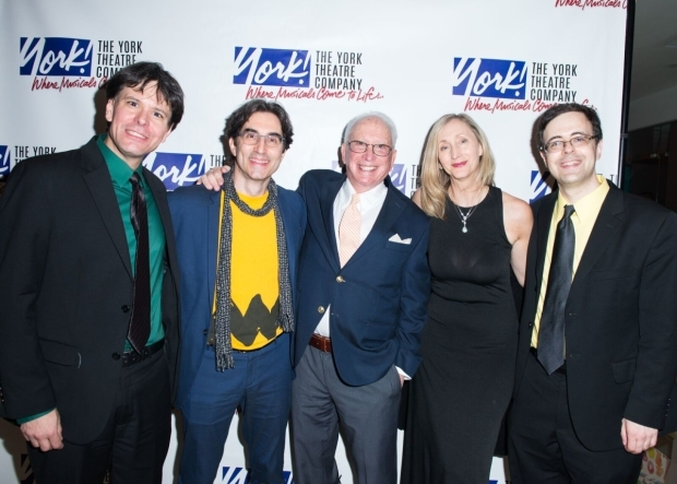 <p>Musical director Eric Svejcar, director Michael Unger, producer Arthur Whitelaw, choreographer Jennifer Paulson-Lee, and producer Van Dean smile for the cameras.</p><br />(© Allison Stock)