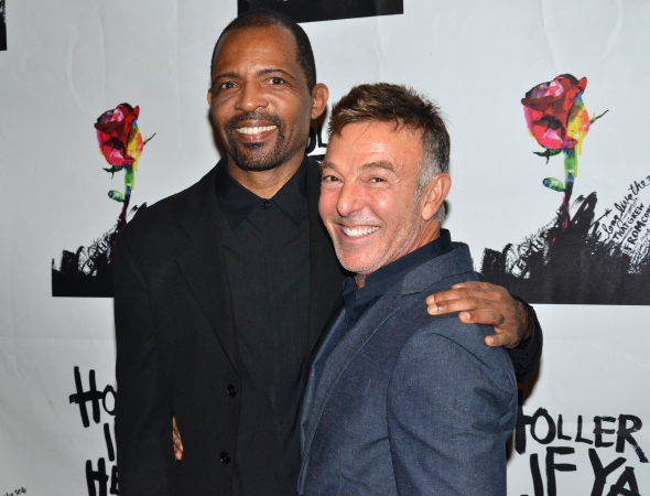 <p>Musical supervisor Daryl Waters and choreographer Wayne Cilento take an opening-night photo together.</p><br />(© David Gordon)