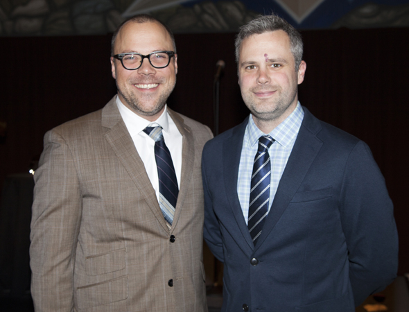 <p>Musical-theater writers Nathan Tysen and Chris Miller are the 2014 recipients of the Fred Ebb Award.</p><br />(© Seth Walters)