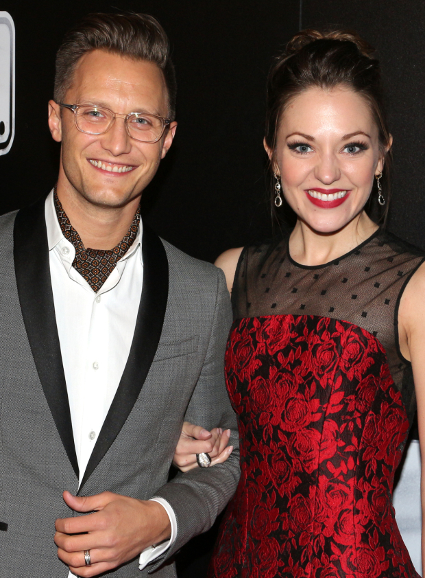 <p>Nathan Johnson and Laura Osnes smile for the cameras.</p><br />(© David Gordon)