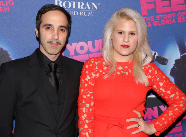 <p>Nayib Estefan, son of Gloria and Emilio Estefan, sees his life depicted onstage in the musical. He poses with his wife, Lara.</p><br />(© David Gordon)