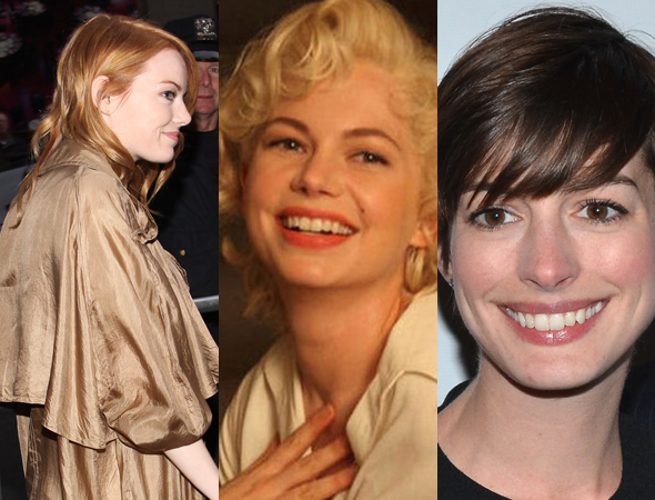 <p>Neither Emma Stone (left) nor Anne Hathaway (right) were cast in the Broadway revival of <em>Cabaret</em>. Michelle Williams won the role instead.</p><br />(© Tristan Fuge&#x3B; The Weinstein Company&#x3B; David Gordon)