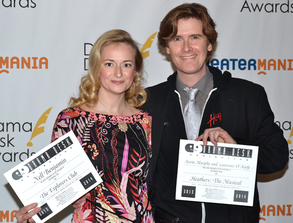 <p>Nell Benjamin and Laurence O&#39&#x3B;Keefe — wife and husband nominees for <em>The Explorers Club</em> and <em>Heathers: The Musical</em>, respectively.</p><br />(© David Gordon)