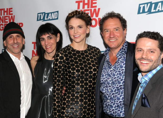 <p>New Group artistic director Scott Elliott, <em>Sweet Charity</em> director Leigh Silverman, Sutton Foster, producer Kevin McCollum, and choreographer Joshua Bergasse.</p><br />(© David Gordon)