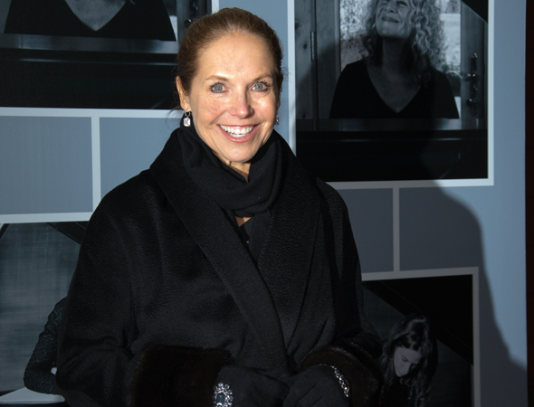 <p>News anchor Katie Couric smiles for the photographers before the opening night of <em>Beautiful</em>.</p><br />(© David Gordon)