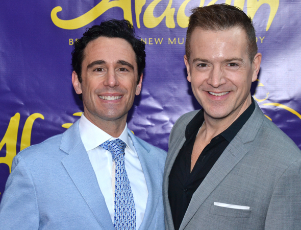 <p><em>Newsies</em> choreographer Christopher Gatelli is joined by his husband, Stephen Bienskie, on the opening night of <em>Aladdin</em>.</p><br />(© David Gordon)