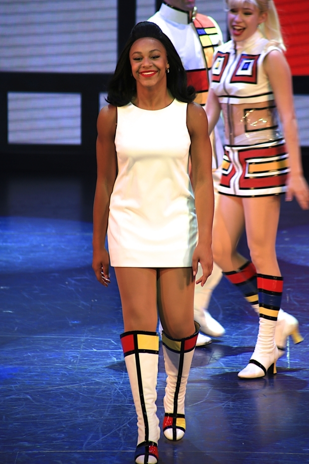 <p>Nia Sioux takes her curtain call on her first night in <em>Trip of Love</em>.</p><br />(© Tricia Baron)