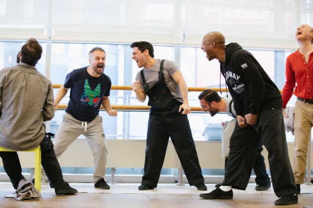 <p>Nicholas Bruder, Phil Hill, Tommy Bracco, Cosmo Jarvis, Emmanuel Brown, and Henry Stram in a scene from rehearsals of <em>The Hairy Ape</em>.</p><br />(© Da Ping Luo)