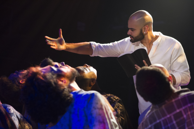 <p>Nicholas Edwards proselytizes in a scene from <em>Jesus Christ Superstar</em>.</p><br />(© Colin Hovde)