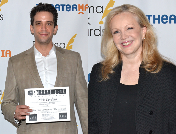 <p>Nick Cordero and Susan Stroman — Outstanding Featured Actor in a Musical and Outstanding Director of a Musical nominees for <em>Bullets Over Broadway</em>.</p><br />(© David Gordon)