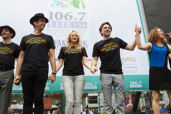 <p>Nick Cordero, Betsy Wolfe, and Zach Braff take their Broadway in Bryant Park bows with the cast.</p><br />(© Steve Prue for Clear Channel New York)
