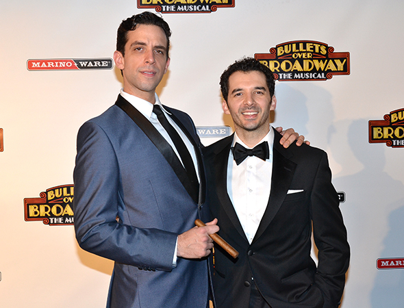 <p>Nick Cordero, who plays Cheech, steals an opening-night photo with fellow cast member Kevin Worley.</p><br />(© David Gordon)