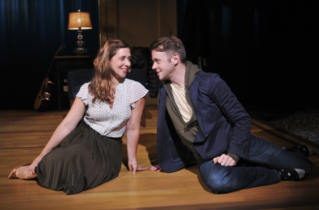 <p>Nick Westrate and Miriam Silverman play old pals Nate and Sarah in the new drama, directed by Margo Bordelon.</p><br />(© Jenny Anderson)