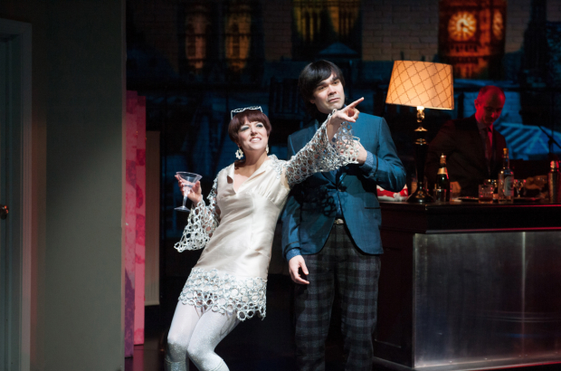<p>Nicole Parker and James Barry share a scene in the new play with music.</p><br />(© Ahron Foster)