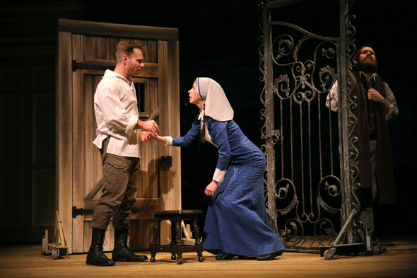 <p>Noah Brody as Claudio, Emily Young as Isabella, and Andy Grotelueschen as the disguised Duke Vincentio take on a moment from Shakespeare&#39&#x3B;s play.</p><br />(© Joan Marcus)