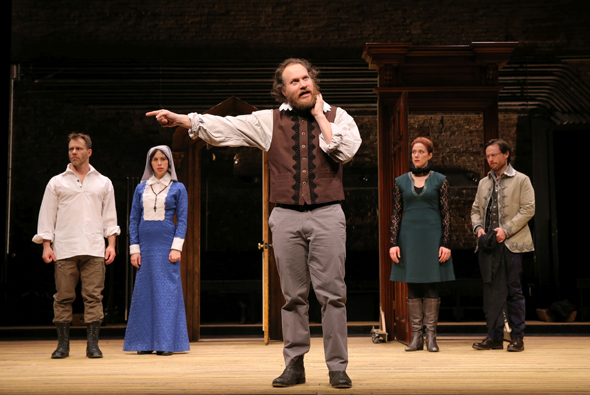 <p>Noah Brody, Emily Young, Andy Grotelueschen, Jessie Austrian, and Paul L. Coffey star in <em>Measure for Measure</em>.</p><br />(© Joan Marcus)
