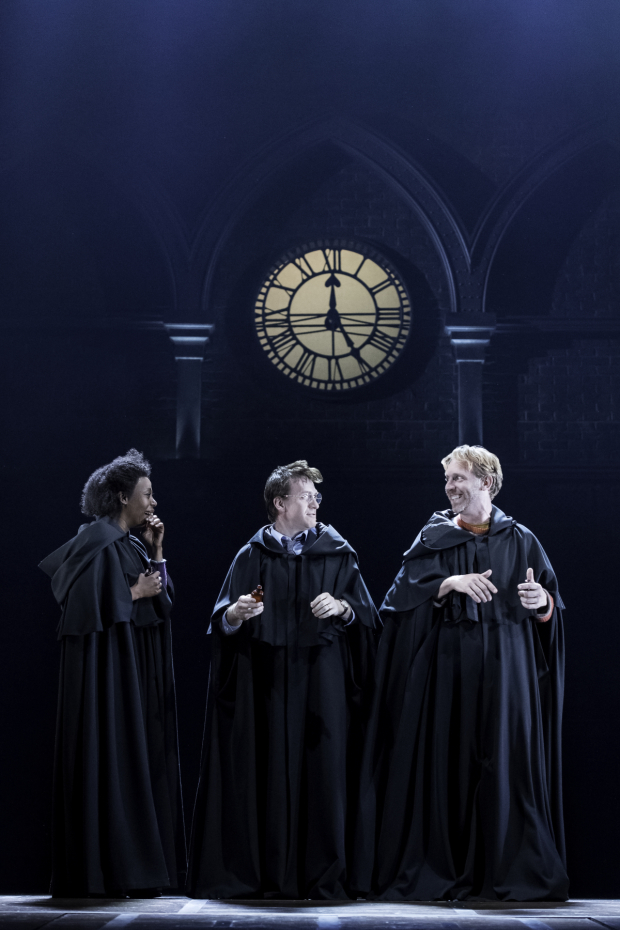 <p>Noma Dumezweni, Jamie Parker, and Paul Thornley head the cast of <em>Harry Potter and the Cursed Child</em> as Hermione Granger, Harry Potter, and Ron Weasley.</p><br />(© Manuel Harlan)