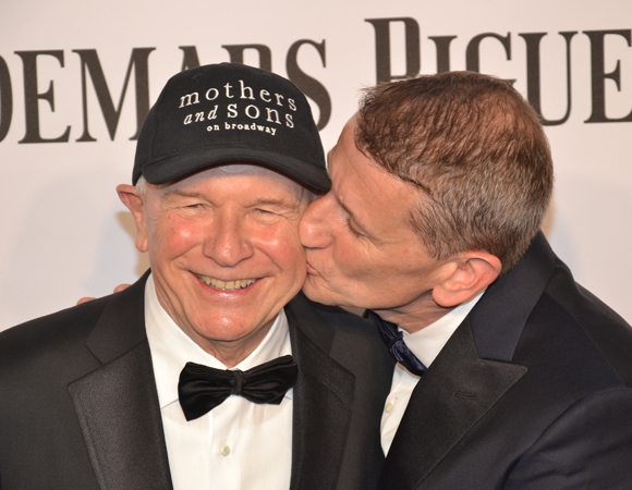 <p>Nominated <em>Mother and Sons</em> playwright Terrence McNally gets some Tony-night love from husband Thomas Kirdahy.</p><br />(© David Gordon)