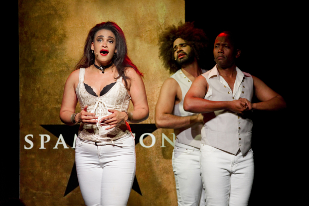 <p>Nora Schell, Nicholas Edwards, and Juwan Crawley in a scene from <em>Spamilton</em> at the Triad.</p>