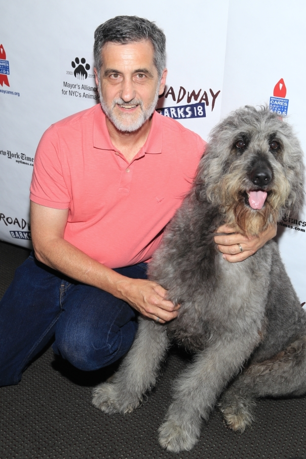 <p>Noted Broadway animal trainer Bill Berloni poses with Winn-Dixie.</p><br />(© Tricia Baron)