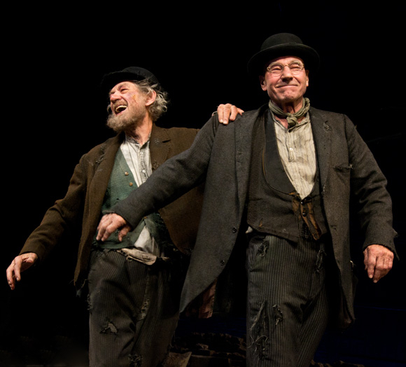<p>November 24: Sirs and BFFs Ian McKellen and Patrick Stewart dance a soft-shoe during the curtain call of their Broadway revival of Samuel Beckett's <em>Waiting for Godot</em>. The existential comedy runs in repertory at the Cort Theatre with Harold Pinter's <em>No Man's Land</em>.</p><br />(© David Gordon)