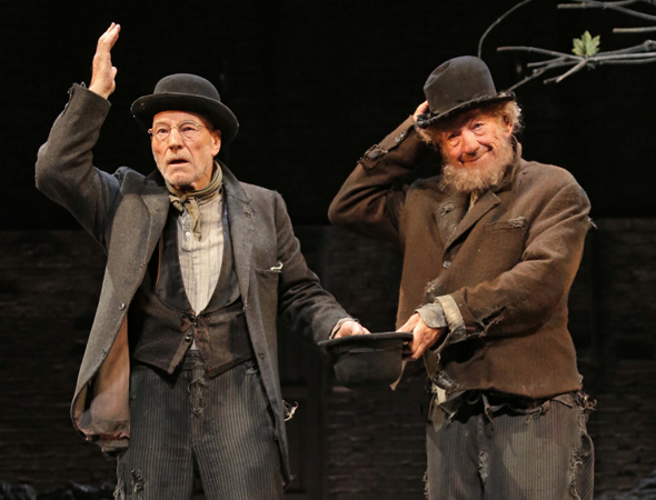 <p>November 24 – Stewart and McKellen open on Broadway in Samuel Beckett&#39&#x3B;s <em>Waiting for Godot</em>.</p><br />(© Joan Marcus)