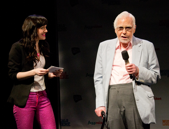 <p>NYMF preview host Lena Hall with Frank D. Gilroy, the original author of <em>The Gig</em>.</p><br />(© David Gordon)