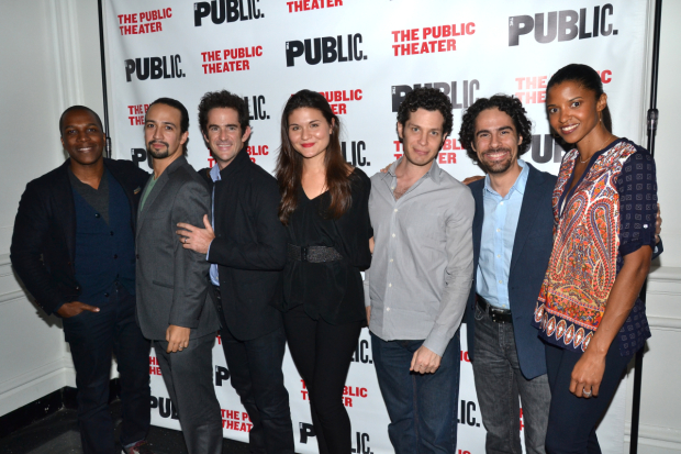 <p>October 22, 2014: <em>The Fortress of Solitude</em> opens at the Public Theater. This is the first time we take a photo of <em>Hamilton</em> collaborators Leslie Odom Jr., Lin-Manuel Miranda, Andy Blankenbuehler, Phillipa Soo, Thomas Kail, Alex Lacamoire, and Renée Elise Goldsberry all together.</p><br />(© David Gordon)
