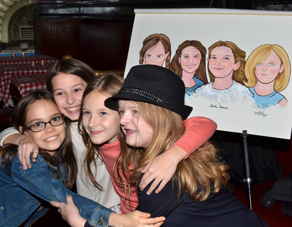 <p>October 22: <em>Matilda</em> stars Oona Laurence, Bailey Ryon, Sophia Gennusa, and Milly Shapiro celebrate after receiving a caricature for the walls of the theater-district eatery Sardi's. The young actresses also received Tony Award honors for their performances in the musical's title role.</p><br />(© David Gordon)