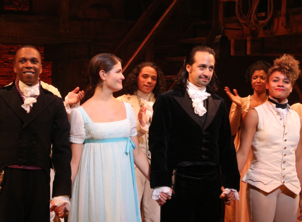 <p>Odom, Soo, and Miranda are joined by fellow original cast member Ariana DeBose, who also played her final performance on July 9.</p><br />(© David Gordon)