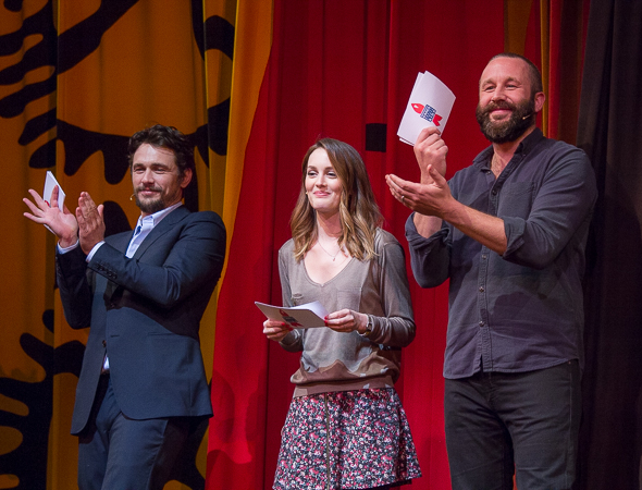 <p><em>Of Mice and Men</em> stars James Franco, Leighton Meester, and Chris O&#39&#x3B;Dowd applaud the afternoon&#39&#x3B;s judges.</p><br />(© David Gordon)