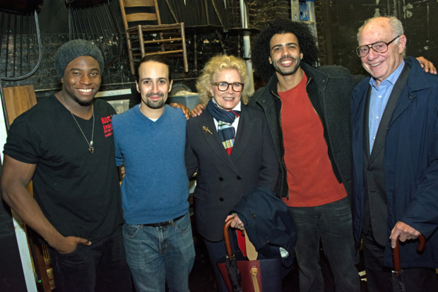 <p>Okieriete Onaodowan, Lin-Manuel Miranda, and Daveed Diggs pose with Candice Bergen and Marshall Rose after a performance of <em>Hamilton</em>.</p><br />(© Kristin Goehring)