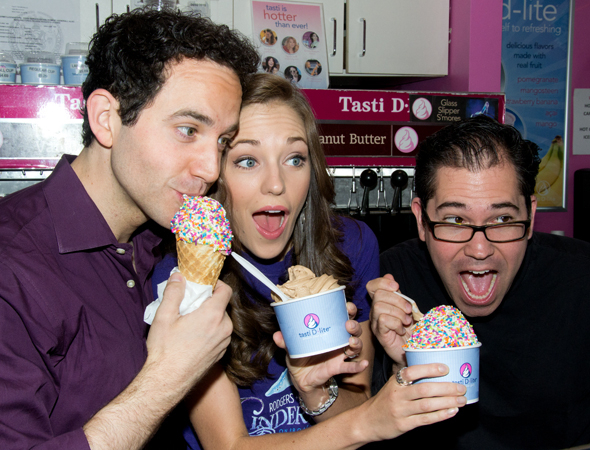 <p>On a hot summer day, Fontana, Osnes, and musical director Andy Einhorn devour some froyo at the Times Square Tasti D-Lite.</p><br />(© David Gordon)